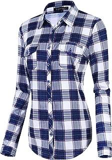 Women's Classic Plaid Shirt Button Down Long Sleeve Blouse