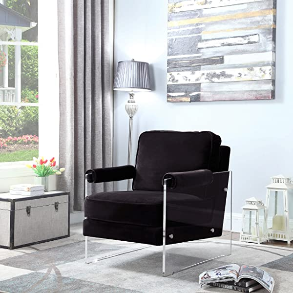 Iconic Home Logan Modern Contemporary Acrylic Frame Upholstered Arm Velvet Accent Chair Black