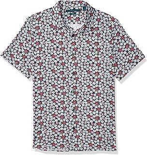 Men's Slim Fit Floral Print Stretch Short Sleeve Button-Down Shirt