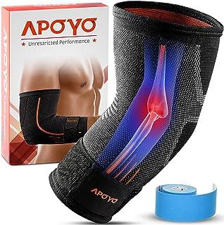 آستین فشرده سازی آرنج APOYO برای تاندونیت ، آرنج تنیس آرنج ، آرنج گلف ، وزنه برداری ، بیشتر ، با نوار قابل تنظیم و جایزه نوار درمانی الاستیک ، عالی برای تمرین و ورزش.