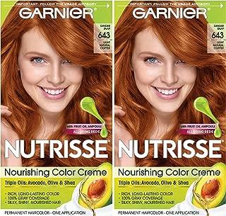 Garnier Hair Color Nutrisse Nourishing Creme, 643 Light Natural Copper, 2 Count