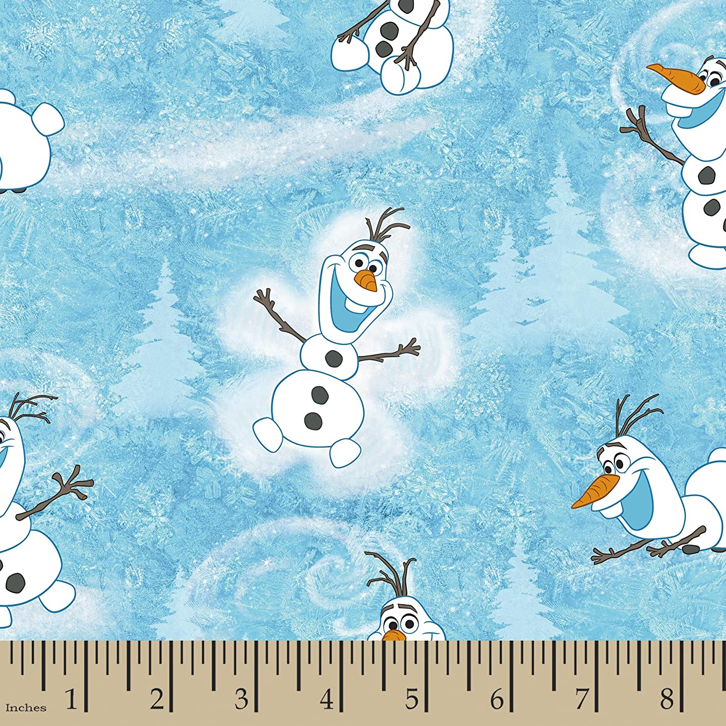 Springs Creative Products Group Disney Frozen Olaf Winter Toss Yard Fabric Light Blue