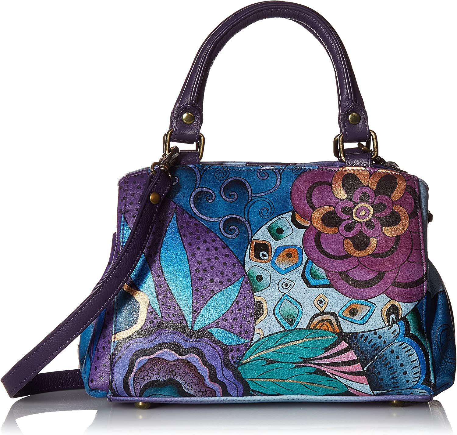 Anna by Anuschka Women's Genuine Leather Small Multicompartment Satchel Shoulder Bag  Hand Painted Original Artwork