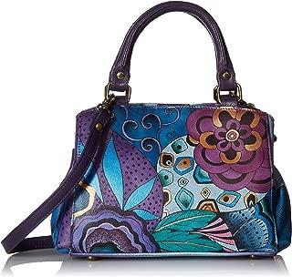 Women's Genuine Leather Small Multicompartment Satchel Shoulder Bag| Hand Painted Original Artwork