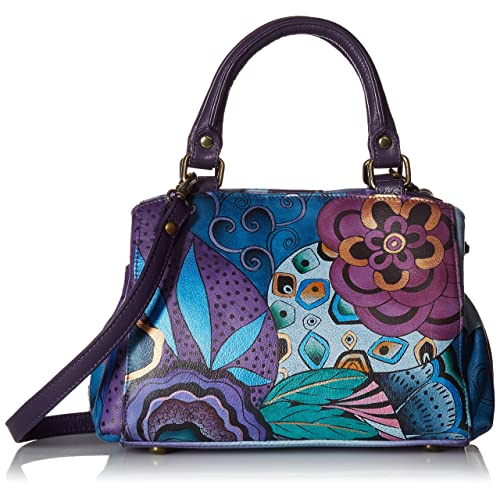 Anna by Anuschka Women s Genuine Leather Small Multicompartment Satchel Shoulder  Bag  Hand Painted Original Artwork 467aaf3a97