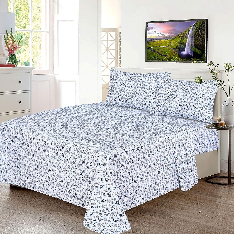 Breathable Moisture Wicking Flannel Bed Sheet Set Queen Include Flat Sheet Ruvanti 100/% Cotton 4 Piece Flannel Sheets Queen Fitted Sheet 2 Pillowcases Christmas Deer Deep Pocket -Warm-Super Soft