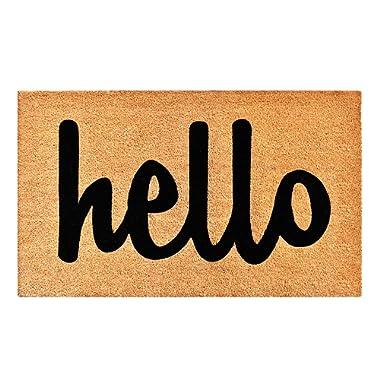 Calloway Mills 100341729NBS Hello Doormat, 17  X 29 , Natural, Black