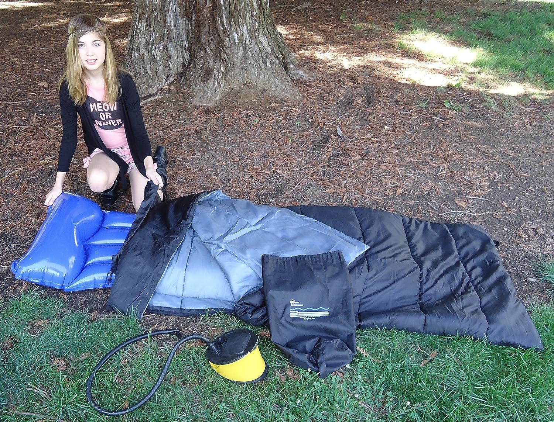 Keen Enterprises Sports Dual Purpose Practical Sleeping Bag. Includes Air Mattress and Pump. (Demo on YouTube)