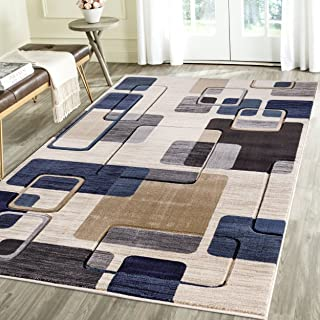 Rug Deal Plus Contemporary Thin Squares Geometric Emerald Collection Carved Area Rug by (5' x 7', Blue/Beige)