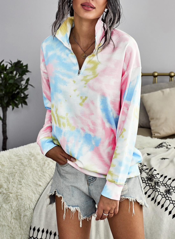 Eytino Women Tie Dye Printed Sweatshirts Long Sleeve High Collar 1/4 Zipper Casual Pullover Tops S-XXL