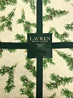 Ralph Lauren Christmas Winter Holiday Tablecloth - Snowy Pine Trees/Natural Green Pine Needles, Brown Pinecones, White Snowflakes on Natural/Cream Background - 100% Cotton (60 x 84 Inches)