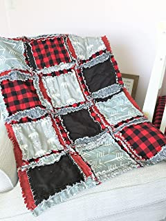 Bear Blanket - Gray/Red Plaid/Black - QUILT Only