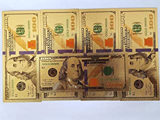 GOLD BANKNOTE (5 Count) $100 Dollar with a Semi Rigid BCW Currency Sleeve Holder, Strong Gold 22k Foil Coupled with a Strong Flexible Protector