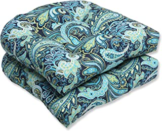 Pillow Perfect Outdoor Pretty Paisley Wicker Seat Cushion, Blue, Set of 2