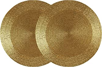 COTTON CRAFT - 2 Pack Beaded Placemat Set - Round Hand Beaded Charger Placemat - Gold- 13.5 Inches Round - Hand Made by Skilled artisans - A Beautiful complement to Your Dinner Table décor