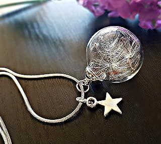 Collana dente di leone ciondolo stella in argento sterling 925 - tarassaco soffióne personalizzato pendente argento finiss...