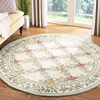 Safavieh Chelsea Collection HK60A Hand-Hooked Ivory Premium Wool Round Area Rug (8' Diameter)