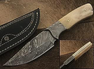 RA-9002 Custom made damascus steel hunting knife bone handle, damascus bolster, with real leather sheath.