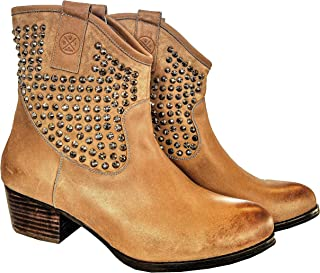 Be Sparkle Ankle Leather Boots Low Heel for Girls and Women-Cowboy Western Style-Comfortable All Day Walking Booties