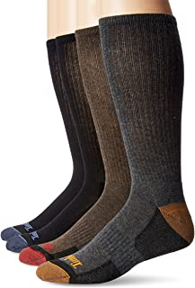 Timberland Comfort 4-Pack Crew Socks Black/Black/Brown/Grey LG (US Men's 9-12)
