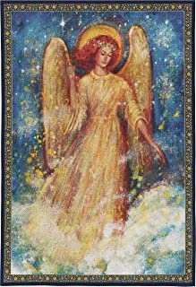 Joy to The World | Woven Tapestry Wall Art Hanging | Cosmic Angel Inspirational Spiritual Painting | 100% Cotton USA Size 53x37