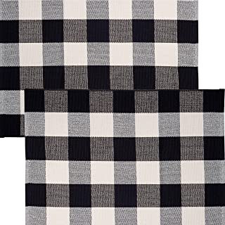 """Sierra Concepts 2-Pack Buffalo Plaid Check Rug Door Mat, 35"""" x 24"""" Cotton Black/White Indoor Outdoor Layered Front Porch D..."""