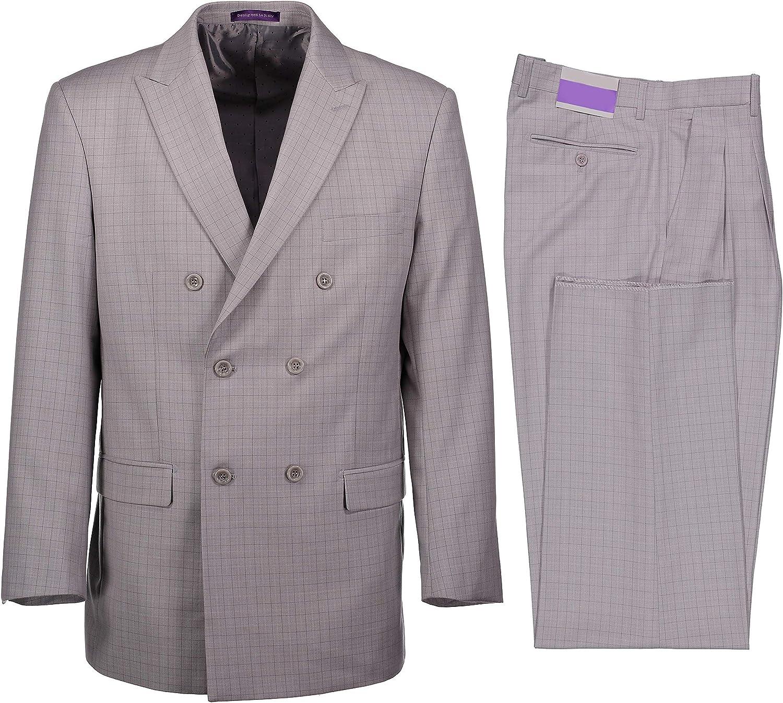 VINCI Men's Glen Plaid Check Double Breasted 6 Button Classic Fit Suit New