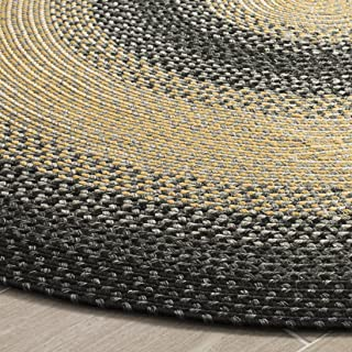 Safavieh Braided Collection BRD311A Hand Woven Black and Grey Oval Area Rug (9' x 12' Oval)