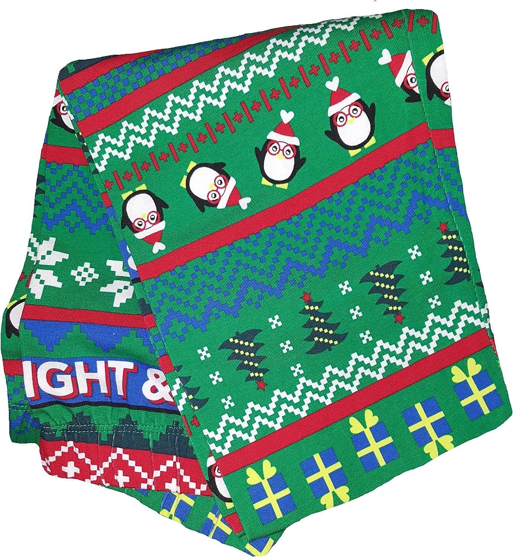No Boundaries Christmas Penguins & Presents Fair Isle Green Ankle Legging