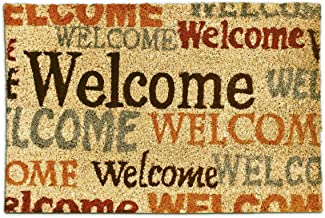 Relaxdays Coconut Fibre Welcome Doormat 40 x 60 cm Coir Welcome Mat with No-Slip Rubber PVC Underside, Multicolour