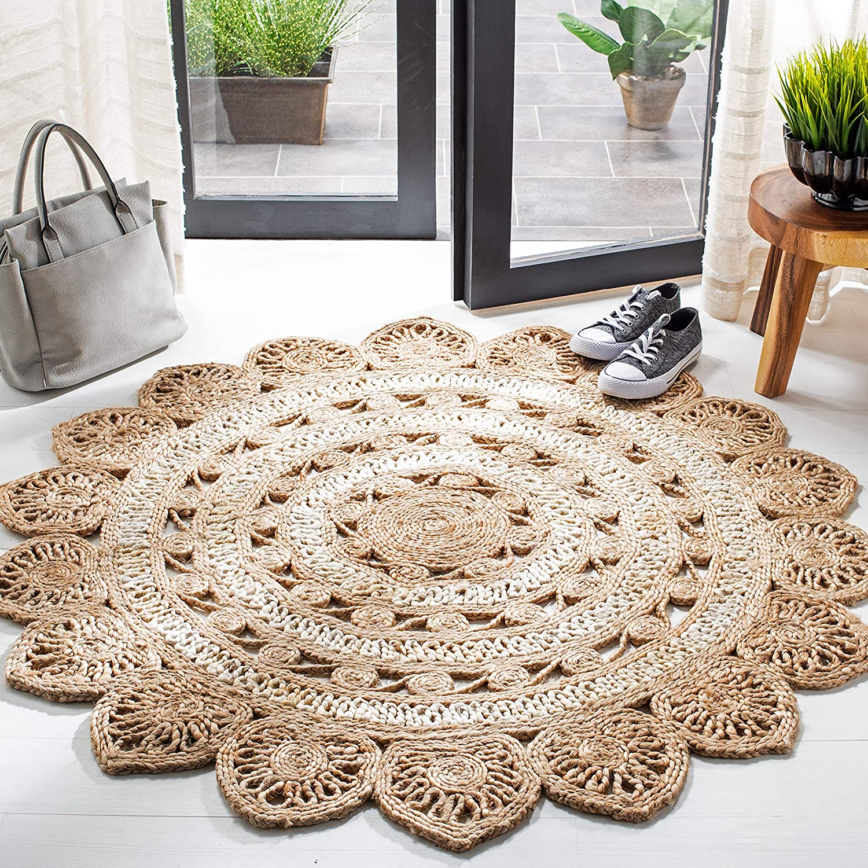 Safavieh Natural Fiber Round Collection 在庫あり Handmade Cha NF160B Boho 本物◆