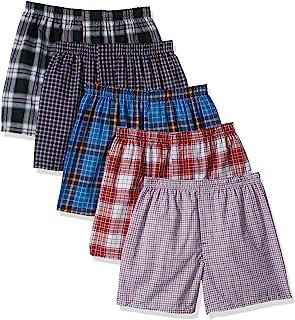 Hanes Men's TAGLESS Tartan Boxers Comfort Flex Waistband 5-Pack_Assorted_X-L
