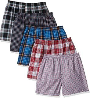 Hanes Men's TAGLESS Tartan Boxers with Comfort Flex Waistband 5-Pack_Assorted_L