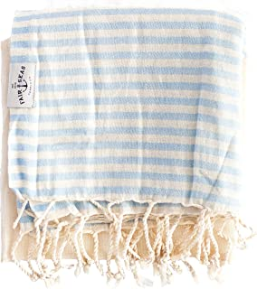 "100/% Organic Turkish Cotton Turkish Towel Fair Seas Supply Co Caribbean Blue Peshtemal Towel Quick Dry and Lightweight 39/"" x 71/"" Large"
