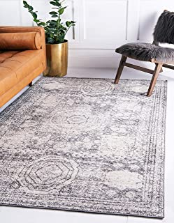 Unique Loom Bromley Collection Vintage Traditional Medallion Border Ivory Area Rug (4' 0 x 6' 0)