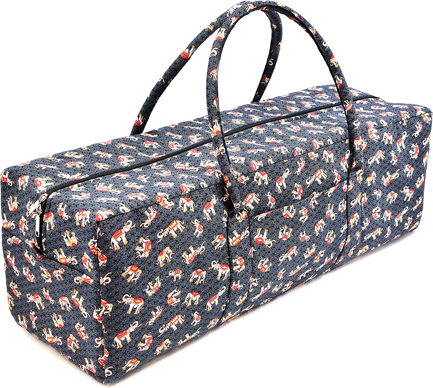 vvProud Large Yoga Mat Duffle Tote Bags Patterned Cotton with Pocket and Zipper for Men and Women, Fits Most Size Yoga Mats
