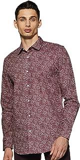 GLORYBOYZ Men's Trim Regular Fit Cotton Casual Shirt (Burgandy)