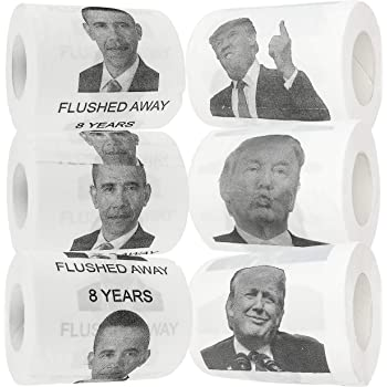 Fairly Odd Novelties Donald Trump & Barack Obama Toilet Paper, Set of 6 Rolls Funny Novelty USA Politics Gag Gift