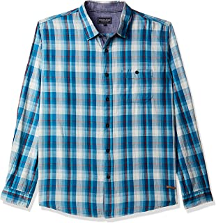 CHEROKEE Men's Checkered Regular Fit Casual Shirt (400017733869_Teal_XL)