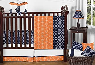Sweet Jojo Designs 11-Piece Modern Bright Orange and Navy Arrow Print Hexagon Crib Baby Bedding Set Without Bumper