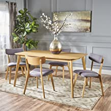 Christopher Knight Home Antonio Mid Century Natural Oak Finished 5 PC Dining Set (Dark Grey)