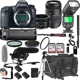 Canon EOS 6D Mark II with 50mm f/1.8 STM Prime Lens + Tamron 70-300mm f/4-5.6 Di LD Macro Lens + 128GB Memory + Pro Battery Bundle + Power Grip + TTL Speed Light + Pro Filters,(24pc Bundle)