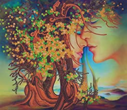 Bead Embroidery Needlepoint Handcraft kit Kiss Beaded Cross Stitch Love Couple Abstract Beadpoint Pattern Tree of Love Embroidery Bordado