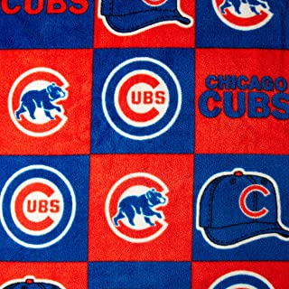 Fabric Traditions CW-801 MLB Fleece Chicago Cubs Blocks Red/Royal Fabric by the Yard