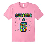6 Years Old Birthday Gift I Age 6 Build Blocks Bricks Theme T-shirt Light Pink
