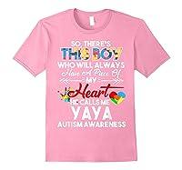 This Boy He Call Me Yaya Autism Awareness Shirts Light Pink
