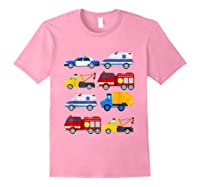 Emergency Vehicles Fire Truck Police Car Ambulance Tow Truck Shirts Light Pink