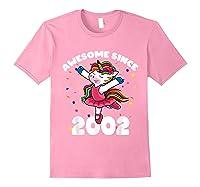 Awesome Since 2002 Ballerina Unicorn Birthday Rainbow Girls T-shirt Light Pink