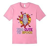 Cute Ghost Girls Costume Spooky Halloween T-shirt Light Pink