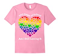 Funny 100th Day Of School Tea Heart Valentine Day Shirts Light Pink